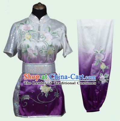 Top Grade Martial Arts Costume Kung Fu Training Long Fist Clothing, Tai Ji Embroidery Peony Deep Purple Uniform Gongfu Wushu Costume for Women