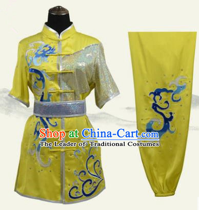 Top Grade Martial Arts Costume Kung Fu Training Clothing, Tai Ji Embroidery Long Fist Yellow Uniform Gongfu Wushu Costume for Women for Men