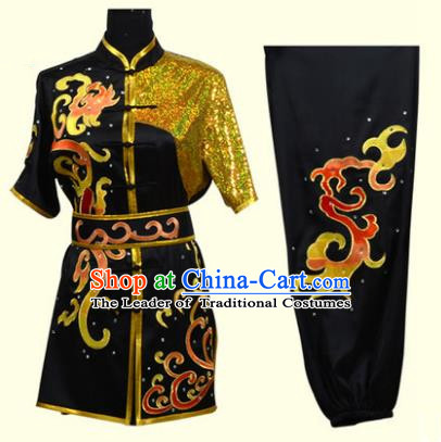 Top Grade Martial Arts Costume Kung Fu Training Clothing, Tai Ji Embroidery Long Fist Black Uniform Gongfu Wushu Costume for Women for Men