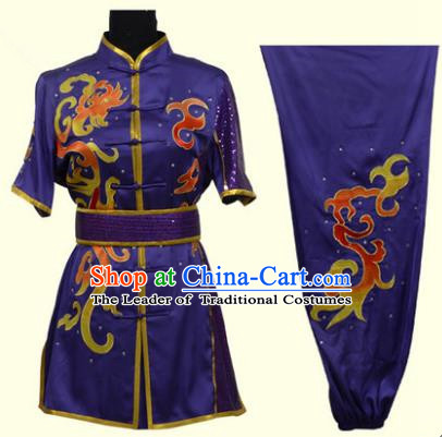 Top Grade Martial Arts Costume Kung Fu Training Clothing, Tai Ji Embroidery Long Fist Purple Uniform Gongfu Wushu Costume for Women for Men
