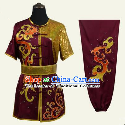 Top Grade Martial Arts Costume Kung Fu Training Clothing, Tai Ji Embroidery Long Fist Dark Red Uniform Gongfu Wushu Costume for Women for Men