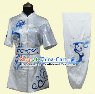 Top Grade Martial Arts Costume Kung Fu Training Clothing, Tai Ji Embroidery Long Fist White Uniform Gongfu Wushu Costume for Women for Men