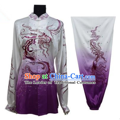 Top Grade Martial Arts Costume Kung Fu Training Gradient Deep Purple Clothing, Tai Ji Embroidery Dragon Long Fist Uniform Gongfu Wushu Costume for Women for Men