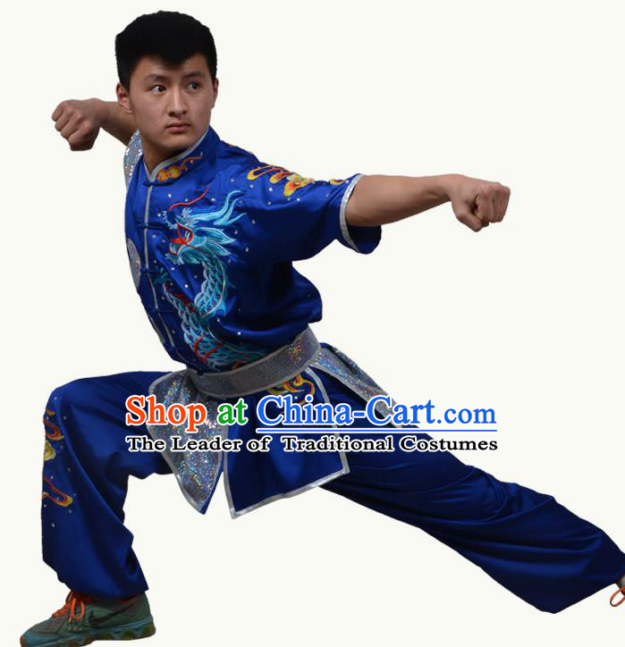 Top Grade Martial Arts Costume Kung Fu Training Short Sleeve Blue Clothing, Tai Ji Embroidery Long Fist Uniform Gongfu Wushu Costume for Women for Men
