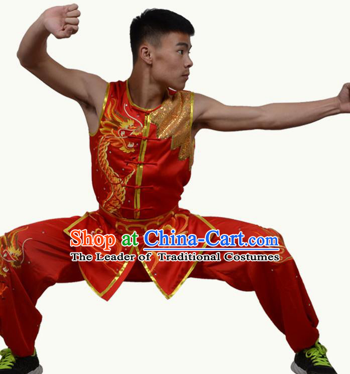 Top Grade Martial Arts Costume Kung Fu Training Short Sleeve Red Clothing, Tai Ji Embroidery Long Fist Uniform Gongfu Wushu Costume for Women for Men
