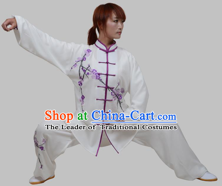 Top Grade China Martial Arts Costume Kung Fu Training Embroidery Plum Blossom Clothing, Chinese Embroidery Tai Ji White Uniform Gongfu Wushu Costume for Women