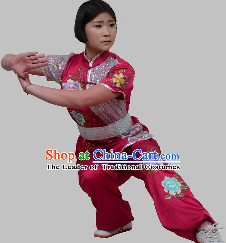 Top Grade China Martial Arts Costume Kung Fu Training Embroidery Peony Clothing, Chinese Embroidery Tai Ji Rosy Uniform Gongfu Wushu Costume for Women