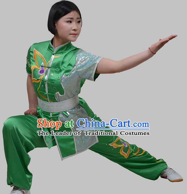 Top Grade China Martial Arts Costume Kung Fu Training Embroidery Butterfly Clothing, Chinese Embroidery Tai Ji Green Uniform Gongfu Wushu Costume for Women