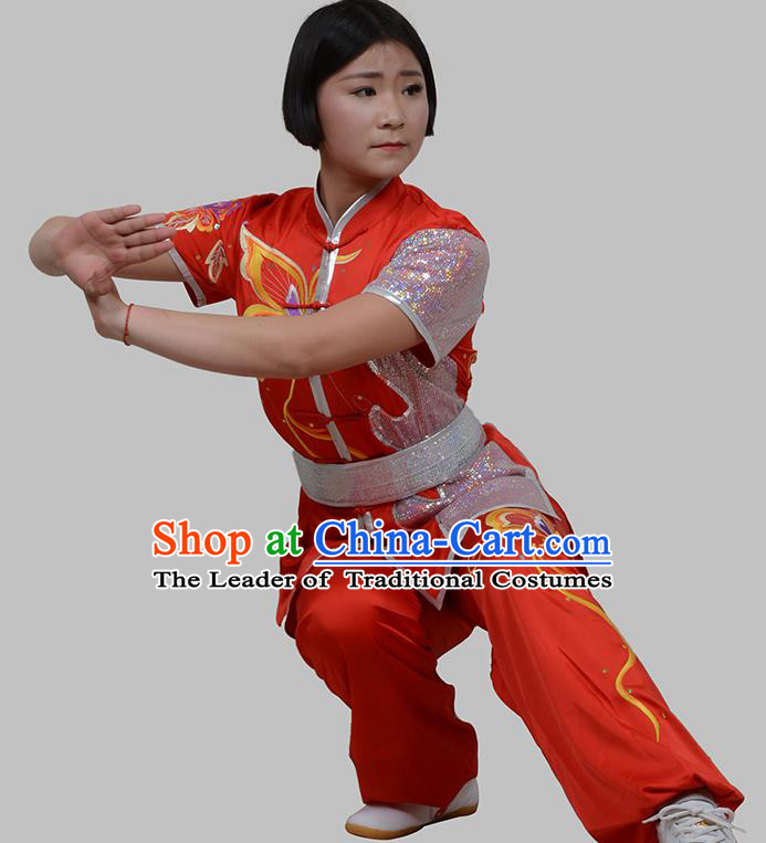 Top Grade China Martial Arts Costume Kung Fu Training Embroidery Butterfly Clothing, Chinese Embroidery Tai Ji Red Uniform Gongfu Wushu Costume for Women