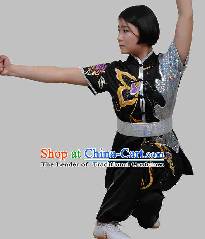 Top Grade China Martial Arts Costume Kung Fu Training Embroidery Butterfly Clothing, Chinese Embroidery Tai Ji Black Uniform Gongfu Wushu Costume for Women