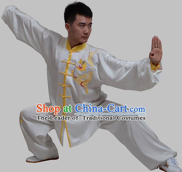 Top Grade China Martial Arts Costume Kung Fu Training Embroidery White Clothing, Chinese Embroidery Dragon Tai Ji Uniform Gongfu Wushu Costume for Men
