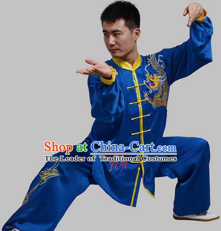 Top Grade China Martial Arts Costume Kung Fu Training Embroidery Blue Clothing, Chinese Embroidery Dragon Tai Ji Uniform Gongfu Wushu Costume for Men