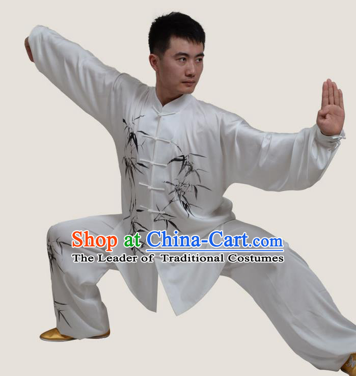 Top Grade China Martial Arts Costume Kung Fu Training Ink Painting Bamboo Clothing, Chinese Tai Ji Uniform Gongfu Wushu Costume for Men