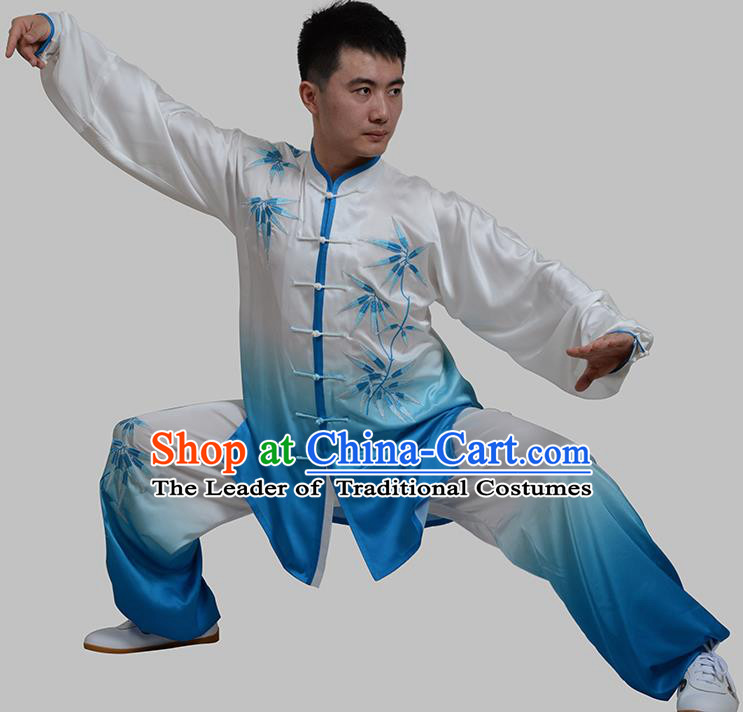 Top Grade China Martial Arts Costume Kung Fu Training Embroidery Bamboo Clothing, Chinese Tai Ji Blue Uniform Gongfu Wushu Costume for Men