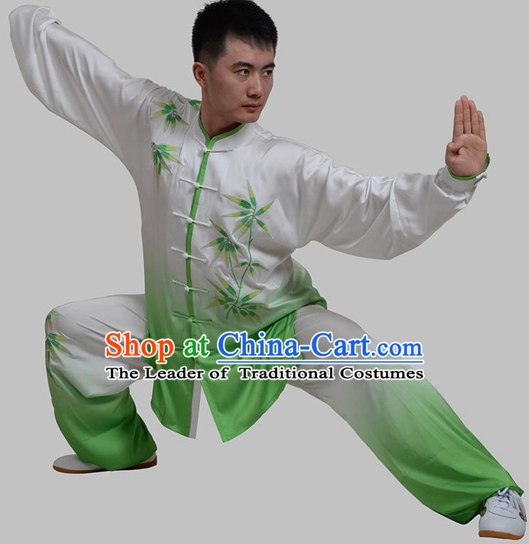 Top Grade China Martial Arts Costume Kung Fu Training Embroidery Bamboo Clothing, Chinese Tai Ji Green Uniform Gongfu Wushu Costume for Men