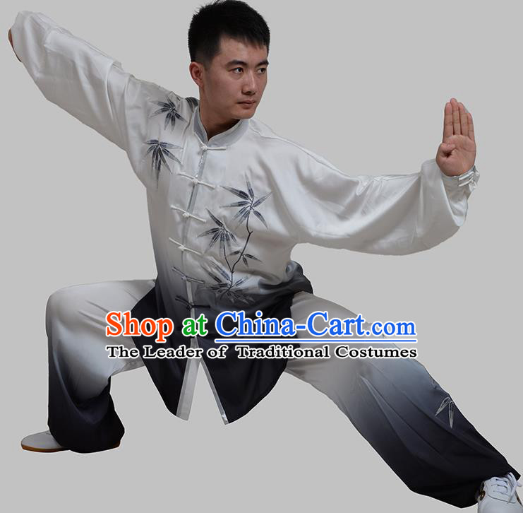 Top Grade China Martial Arts Costume Kung Fu Taichi Gradient Training Embroidery Bamboo Clothing, Chinese Tai Ji Black Uniform Gongfu Wushu Costume for Men