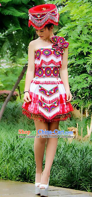 Traditional Chinese Miao Nationality Dance Costume, Hmong Female Folk Dance Ethnic Short Pleated Skirt, Chinese Minority Nationality Embroidery Costume for Women