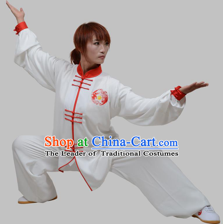 Top Grade China Martial Arts Costume Kung Fu Training Red Plated Buttons Clothing, Chinese Embroidery Tai Ji White Uniform Gongfu Wushu Costume for Women for Men