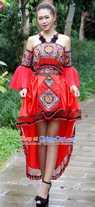 Traditional Chinese Miao Nationality Wedding Costume, Hmong Female Folk Dance Ethnic Red Dress, Chinese Minority Nationality Embroidery Clothing for Women