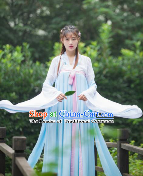 Traditional Ancient Chinese Peri Costume Blouse and Skirt, Elegant Hanfu Clothing Chinese Song Dynasty Princess Embroidered Dress for Women