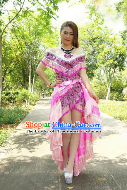 Traditional Chinese Miao Nationality Costume and Headwear, Hmong Folk Dance Ethnic Beads Tassel Dress, Chinese Minority Nationality Embroidery Clothing for Women