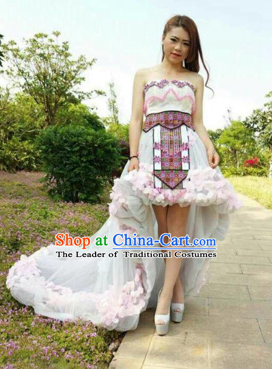 Traditional Chinese Miao Nationality Costume and Headwear, Hmong Folk Dance Ethnic Beads Tassel White Dress, Chinese Minority Nationality Embroidery Clothing for Women