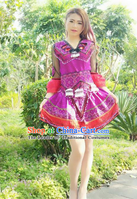Traditional Chinese Miao Nationality Costume and Headwear, Hmong Folk Dance Ethnic Purple Short Pleated Skirt, Chinese Minority Nationality Embroidery Clothing for Women