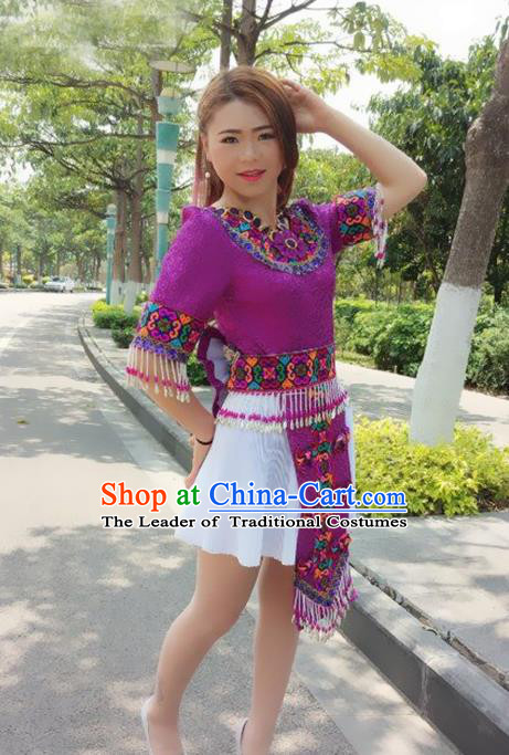 Traditional Chinese Miao Nationality Costume, Hmong Folk Dance Ethnic Purple Tassel Short Pleated Skirt, Chinese Minority Nationality Embroidery Clothing for Women