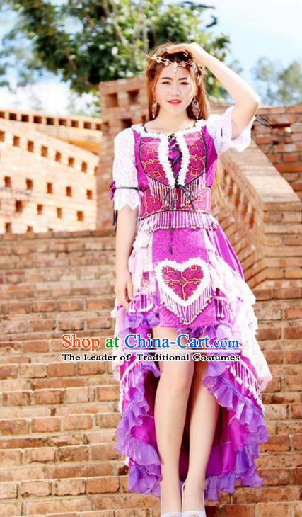 Traditional Chinese Miao Nationality Wedding Bride Costume, Hmong Folk Dance Ethnic Purple Pleated Skirt, Chinese Minority Nationality Embroidery Clothing for Women