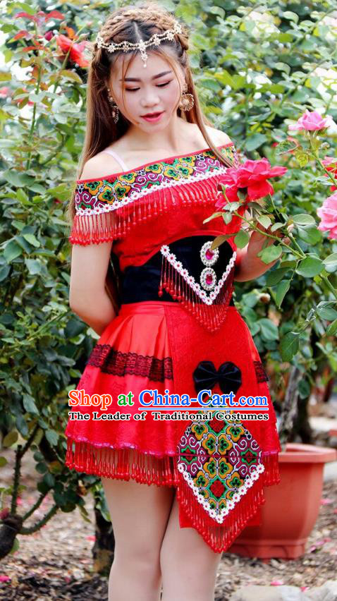 Traditional Chinese Miao Nationality Wedding Bride Costume, Hmong Folk Dance Ethnic Red Pleated Skirt, Chinese Minority Nationality Embroidery Clothing for Women