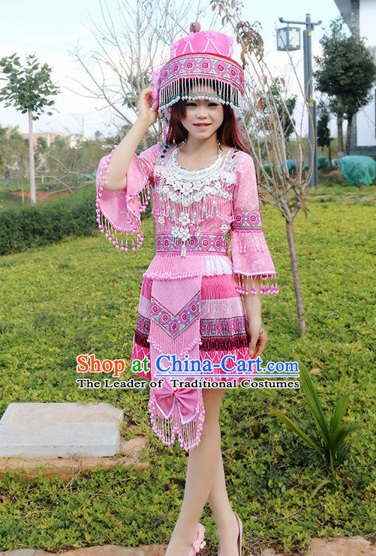 Traditional Chinese Miao Nationality Wedding Costume Embroidered Pink Tassel Pleated Skirt, Hmong Folk Dance Ethnic Chinese Minority Nationality Embroidery Clothing for Women