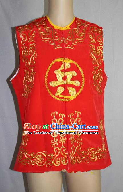 Traditional China Beijing Opera Takefu Vest Costume, Ancient Chinese Peking Opera Wu-Sheng Warrior Embroidery Red Clothing
