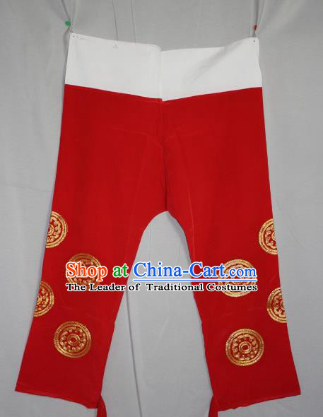 Traditional China Beijing Opera Takefu Costume Red Pants, Ancient Chinese Peking Opera Wu-Sheng Warrior Embroidery Trousers Clothing