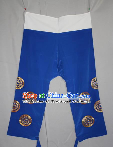Traditional China Beijing Opera Takefu Costume Blue Pants, Ancient Chinese Peking Opera Wu-Sheng Warrior Embroidery Trousers Clothing