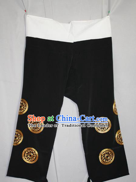 Traditional China Beijing Opera Takefu Costume Black Pants, Ancient Chinese Peking Opera Wu-Sheng Warrior Embroidery Trousers Clothing
