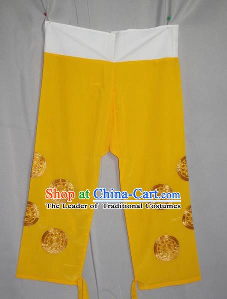 Traditional China Beijing Opera Takefu Costume Yellow Pants, Ancient Chinese Peking Opera Wu-Sheng Warrior Embroidery Trousers Clothing