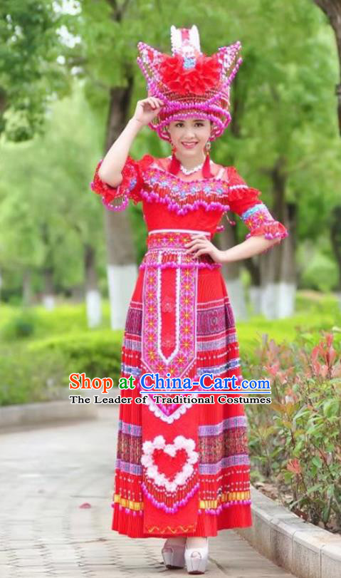 Traditional Chinese Miao Nationality Wedding Bride Costume Red Long Skirt and Tassel Hat, Hmong Folk Dance Ethnic Chinese Minority Nationality Embroidery Clothing for Women