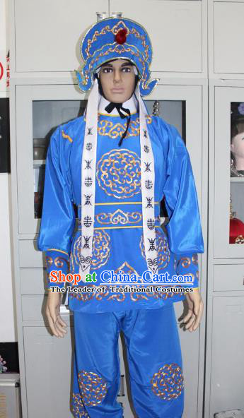 Traditional China Beijing Opera Takefu General Costume, Ancient Chinese Peking Opera Wu-Sheng Warrior Embroidery Blue Clothing