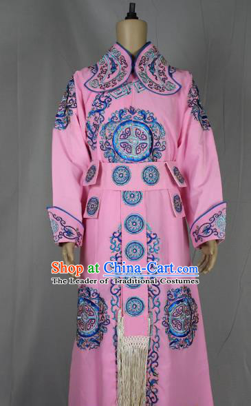 Traditional China Beijing Opera Takefu General Costume, Ancient Chinese Peking Opera Wu-Sheng Warrior Embroidery Pink Clothing