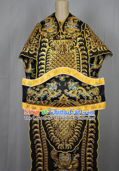 Traditional China Beijing Opera Takefu General Black Costume, Ancient Chinese Peking Opera Wu-Sheng Military Officer Warrior Embroidery Clothing