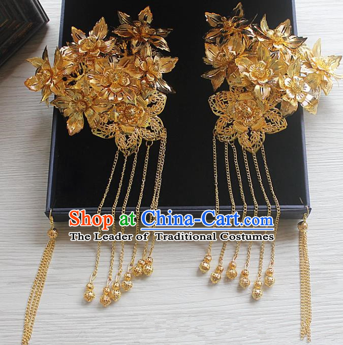 Traditional Handmade Chinese Ancient Classical Hair Accessories Barrettes Xiuhe Suit Hairpin, Flowers Long Tassel Step Shake, Hanfu Hair Fascinators for Women