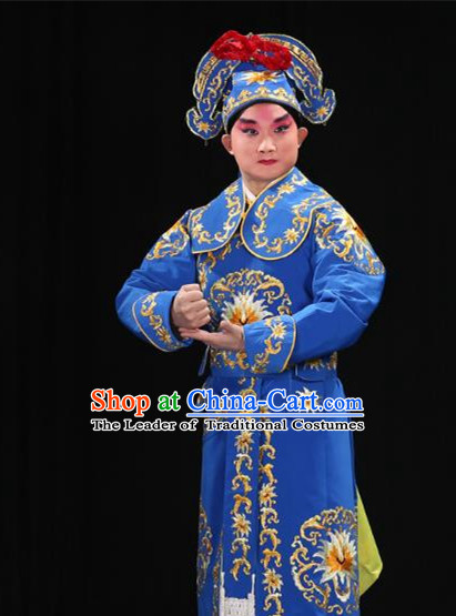 Traditional China Beijing Opera Takefu General Blue Costume and Boots, Ancient Chinese Peking Opera Wu-Sheng Warrior Embroidery Yellow Clothing
