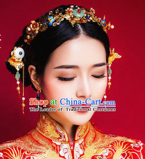 Traditional Handmade Chinese Ancient Classical Hair Accessories Barrettes Xiuhe Suit Golden Hair Comb Complete Set, Hanfu Hair Fascinators for Women