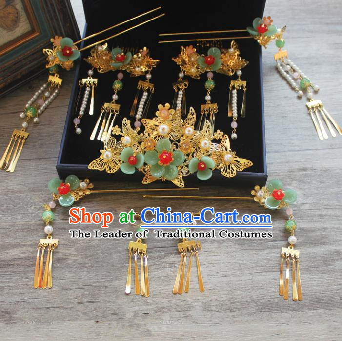 Traditional Handmade Chinese Ancient Classical Hair Accessories Barrettes Xiuhe Suit Green Flowers Phoenix Coronet Complete Set, Tassel Step Shake Hanfu Hair Fascinators for Women