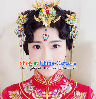 Traditional Handmade Chinese Ancient Classical Hair Accessories Barrettes Xiuhe Suit Cloisonne Butterfly Hairpins Complete Set, Tassel Step Shake Hanfu Hair Fascinators for Women