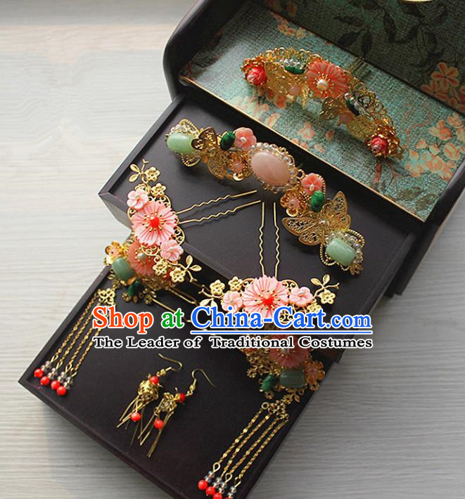 Chinese Ancient Style Hair Jewelry Accessories Xiuhe Suit Hairpins Headwear Headdress Bride Hair Fascinators for Women