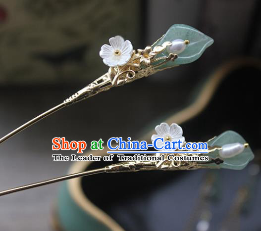 Traditional Handmade Chinese Ancient Classical Hair Accessories Barrettes Xiuhe Suit Magnolia Flower Hairpins, Tassel Step Shake Hanfu Hair Fascinators for Women