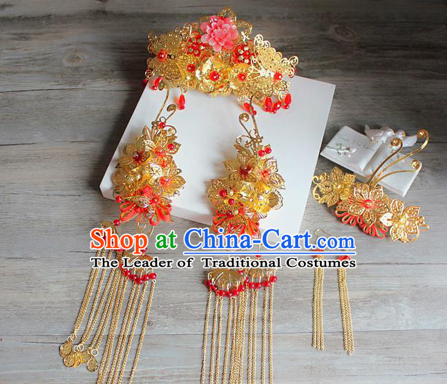Traditional Handmade Chinese Ancient Classical Hair Accessories Barrettes Xiuhe Suit Hairpin Complete Set, Long Tassel Step Shake, Hanfu Hair Fascinators for Women