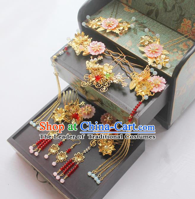 Traditional Handmade Chinese Ancient Classical Hair Accessories Barrettes Xiuhe Suit Red Beads Hair Comb Complete Set, Long Tassel Step Shake, Hanfu Hairpins Hair Fascinators for Women