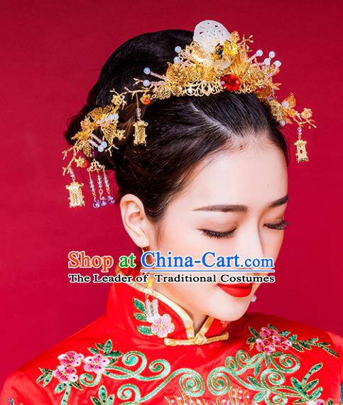 Traditional Handmade Chinese Ancient Classical Hair Accessories Barrettes Xiuhe Suit Copper Phoenix Coronet Complete Set, Long Tassel Step Shake, Hanfu Hairpins Hair Fascinators for Women